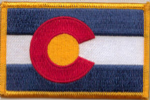 Colorado Embroidered Flag Patch, style 08.